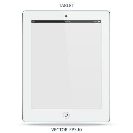 realistic detailed tablet with touch screen isolated on a gray background Stock Illustratie