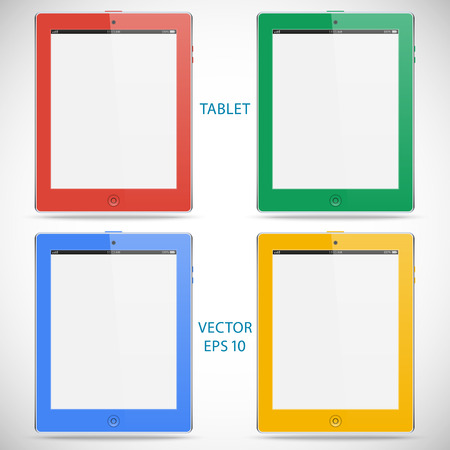 plate camera: set of realistic detailed colored tablets with touch screen isolated on a gray background