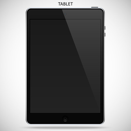 isolated object: realistic detailed tablet with touch screen isolated on a gray background Illustration
