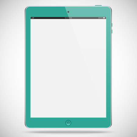 isolated: realistic detailed tablet with touch screen isolated on a gray background Illustration
