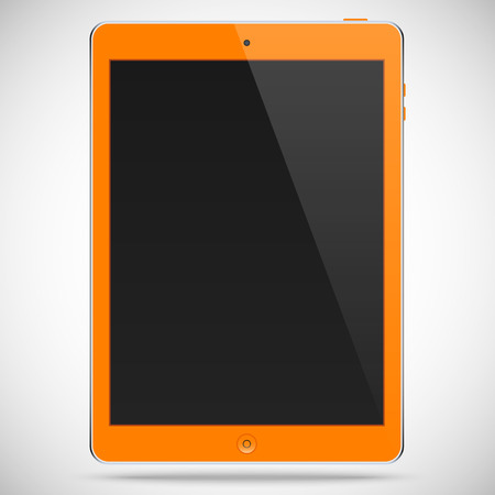 plate camera: realistic detailed tablet with touch screen isolated on a gray background Illustration