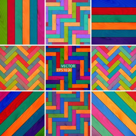 ustawić kolorowe drewniane tle tekstury parkiet. ilustracji wektorowych Ilustracje wektorowe
