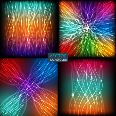 glare: set abstract background of bright neon colored curves  lines with glare. vector illustration eps10 Illustration