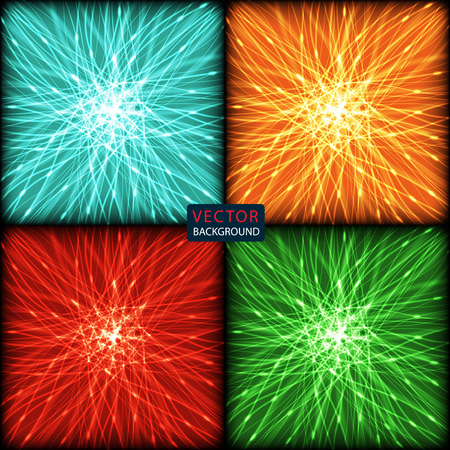 colored background: set background of colored neon intersecting lines. abstract vector illustration eps10
