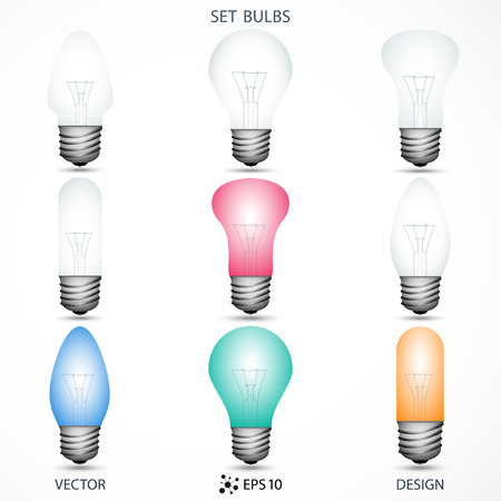 incandescent: set of incandescent lamps on the gray background. vector illustration  Illustration