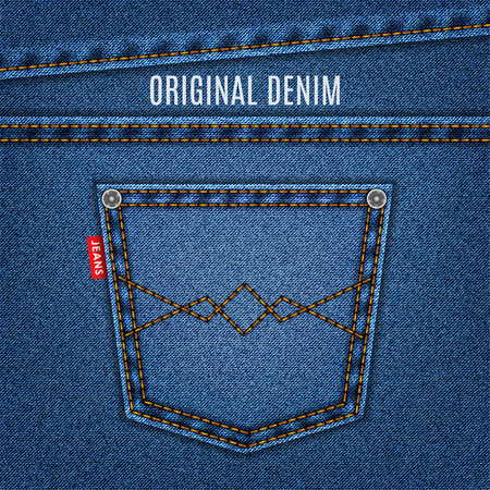 los pantalones vaqueros de textura azul con fondo de mezclilla bolsillo. Ilustración de vector