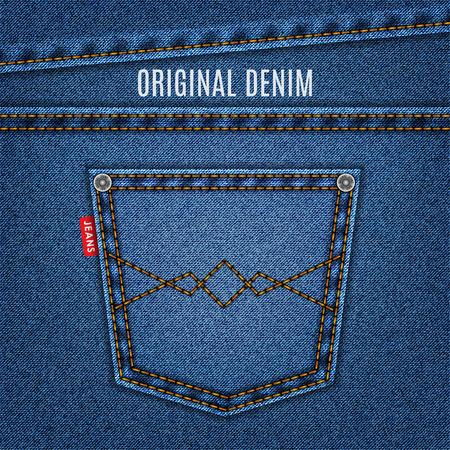 in jeans: los pantalones vaqueros de textura azul con fondo de mezclilla bolsillo. Vectores