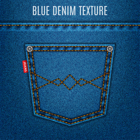 jeans blue texture fabric with pocket denim background.  Иллюстрация
