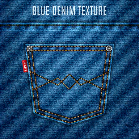 jeans blue texture fabric with pocket denim background.  Illustration