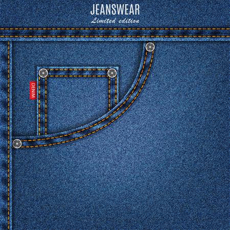 de vaqueros: los pantalones vaqueros de textura azul con fondo de mezclilla bolsillo. ilustraci�n stock vectorial Vectores