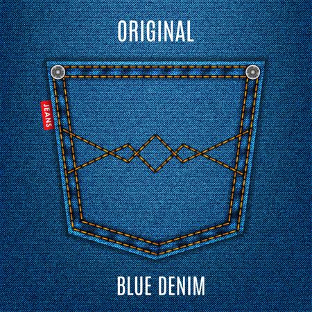 Jeans blauwe textuur stof met pocket denim achtergrond. stock vector illustratie Stockfoto - 45265963