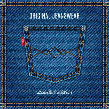 jeans blue texture material with pocket denim background. stock vector illustration eps10 Stock Illustratie