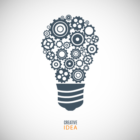gray bulb: bulb icon from gears (cogs) on the gray background Illustration