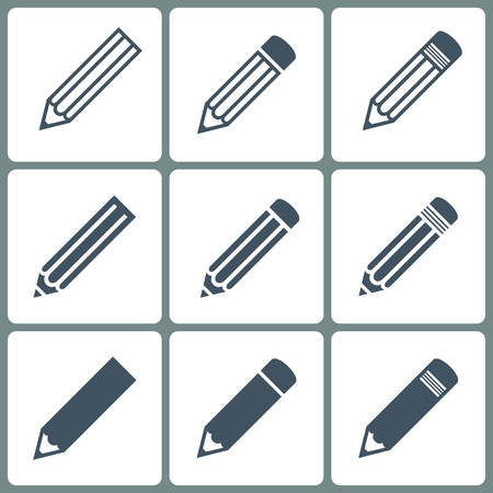 lapiz: establecer lápices iconos de color gris en el fondo blanco Vectores