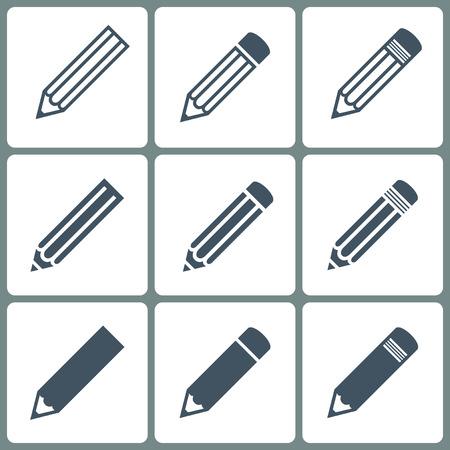 set potloden iconen grijze kleur op de witte achtergrond