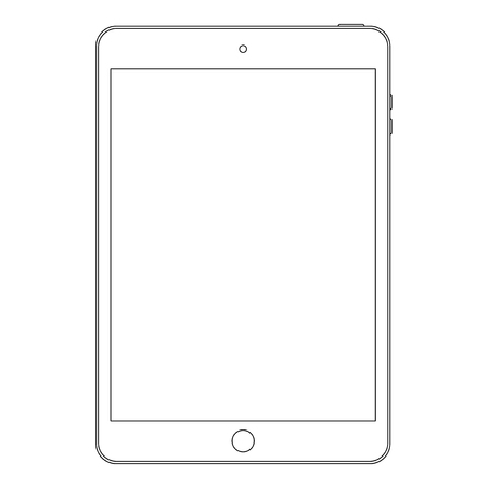 tablet outline icon symbol on the white background