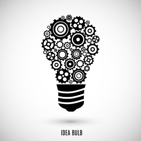 gear icon: bulb icon black color on the gray background.