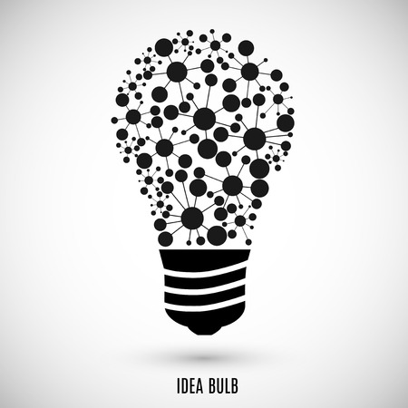 gray bulb: bulb icon black color on the gray background.  Illustration
