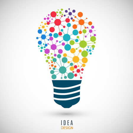 bulb icon colored on the gray background. stock vector illustration eps10