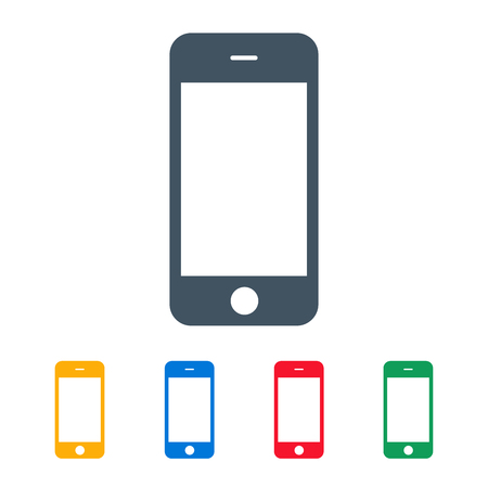mobile phones: smartphone icons colored set on the white background. stock vector illustration