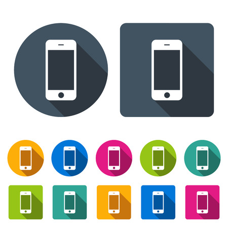 mobile phones: smartphone icons set in the style flat design different color on the white background. stock vector illustration