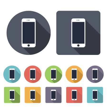 mobile phones: smartphone icons set in the style flat design on the white background. stock vector illustration Illustration