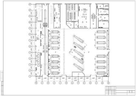 concevoir plan architectural ou d'un projet, le dessin technique, plan de construction avec cadre horizontal sur le fond blanc. Stock illustration eps10
