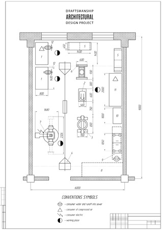 draftsmanship: design architectural plan or project, technical drawing, construction plan with vertical frame on the white background. Illustration