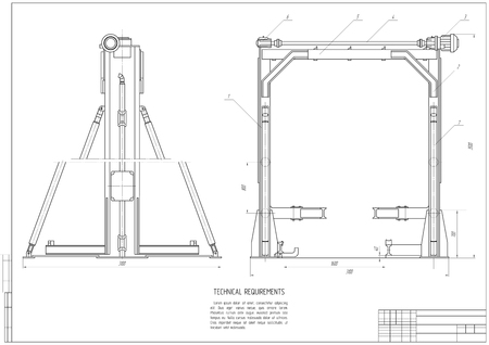 architectural plan: design architectural plan or project, technical drawing, construction plan with horizontal frame on the white background.