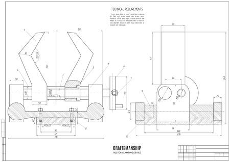 dessin technique du dispositif de serrage, projet de construction ou d'un plan avec cadre horizontal sur le fond blanc. Vecteurs