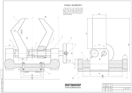 draftsmanship: technical drawing of the clamping device, construction project or plan with horizontal frame on the white background.