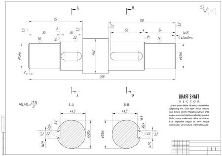 dibujo técnico, el proyecto de construcción con estructura horizontal en el fondo blanco. Ilustración común del vector eps10