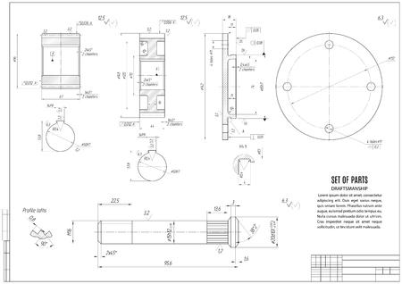 Technische tekening, de bouw ontwerp met horizontale frame op de witte achtergrond. stock vector illustratie eps10 Stockfoto - 56036081
