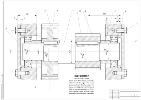 dessin technique, la construction projet avec cadre horizontal sur le fond blanc. actions illustration vectorielle Vecteurs