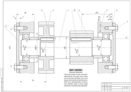 dibujo técnico, el proyecto de construcción con estructura horizontal en el fondo blanco. Ilustración común del vector
