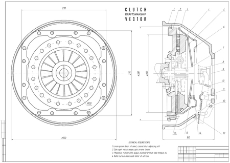 disegno tecnico alla frizione, progetto di costruzione con telaio orizzontale su sfondo bianco. illustrazione vettoriali Vettoriali