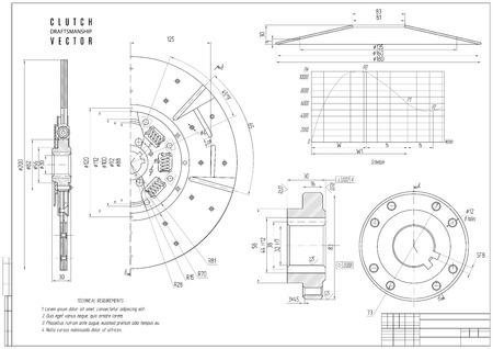 dessin technique de l'embrayage, la construction projet avec cadre horizontal sur le fond blanc. actions illustration vectorielle