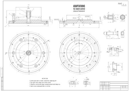 dibujo técnico el embrague, el proyecto de construcción con estructura horizontal en el fondo blanco. Ilustración común del vector