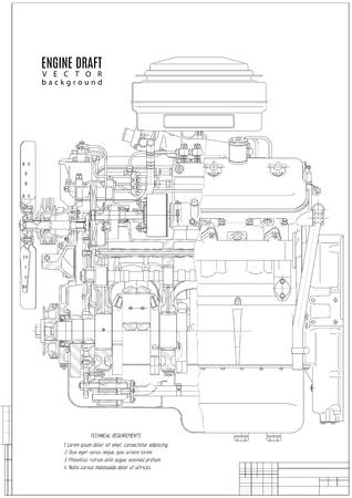 motor gráfico técnico, proyecto de construcción o plan con marco vertical sobre el fondo blanco. Ilustración común del vector