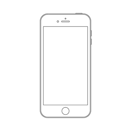 smartphone outline icon symbol on the white background.