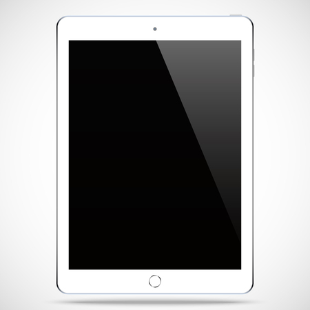 blank tablet: tablet white color with blank touch screen isolated on the grey background. Illustration