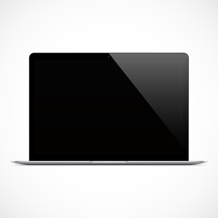 laptop black color with blank touch screen isolated on the grey background. stock vector illustration eps10 Stock Illustratie