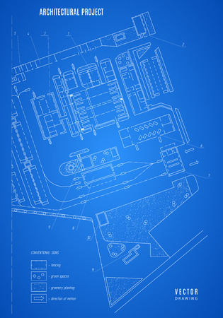 architecture drawing: architectural blueprint, technical drawing, construction plan or project on the blue background. Illustration