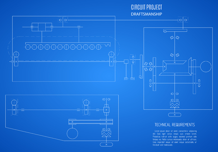 draftsmanship: blueprint scheme, technical drawing, plan or project on the blue background.