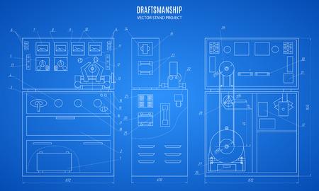 stand de plan, dessin technique, plan de construction ou d'un projet sur le fond bleu.