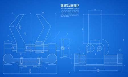 plan du dispositif de serrage, dessin technique, plan de construction ou d'un projet sur le fond bleu.