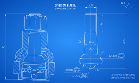 bearing: blueprint of spherical bearing, project technical drawing on the blue background.