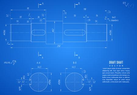 anteproyecto del eje, proyecto de dibujo técnico en el fondo azul.