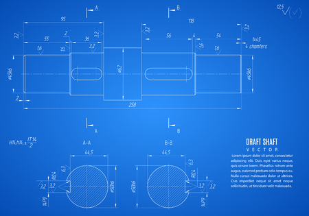 shaft: blueprint of shaft, project technical drawing on the blue background. Illustration