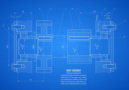 shaft: blueprint of shaft assembly, project technical drawing on the blue background.